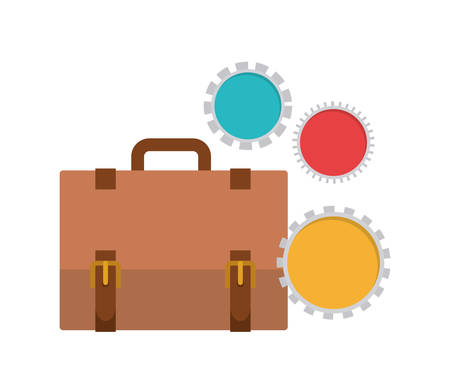 suitcase of businessman with white background vector illustration design