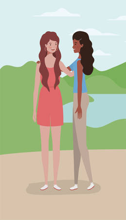 young interracial girls couple in the camp vector illustration design Illusztráció