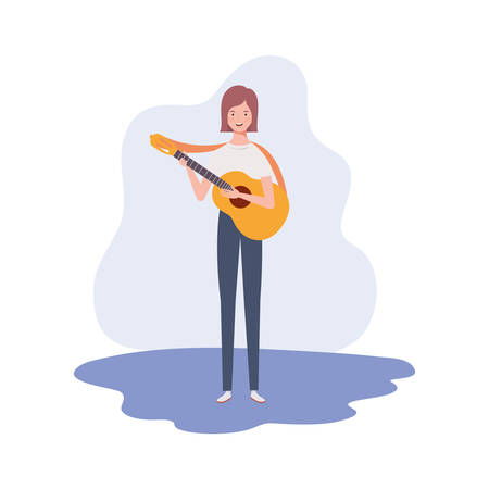 woman with acoustic guitar on white background vector illustration design