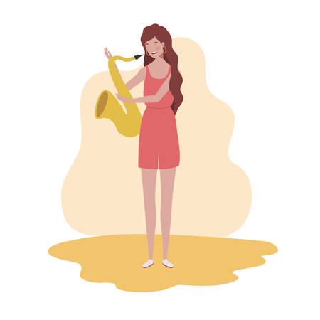 young woman with saxophone on white background vector illustration design