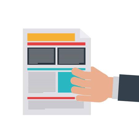 hand of businessman with file sheet on white background vector illustration design Ilustracja