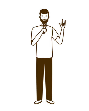 silhouette of man with microphone white background vector illustration design