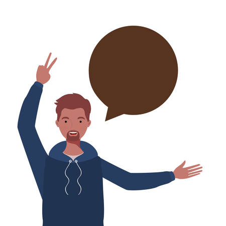 man with speech bubble avatar character vector illustration design Illusztráció