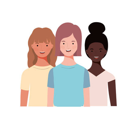 young women on white background vector illustration design
