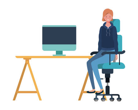 woman sitting in the work office with white background vector illustration design Ilustracja