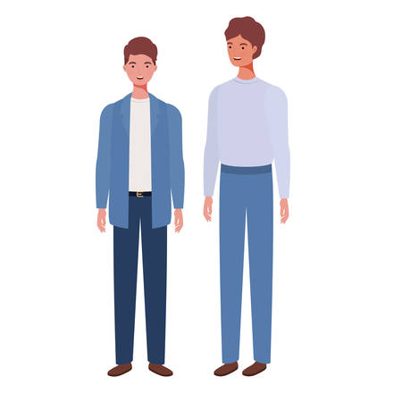 young men standing on white background vector illustration design