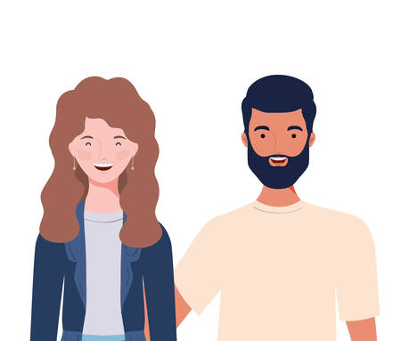 couple of people smiling on white background vector illustration design Foto de archivo - 129420192