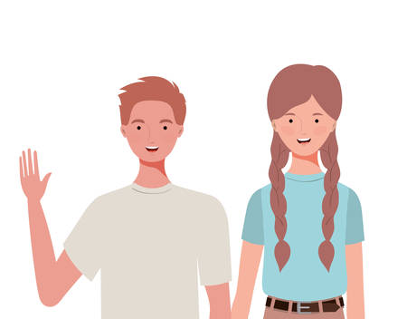 couple of people smiling on white background vector illustration design Foto de archivo - 129420220