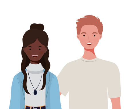 couple of people smiling on white background vector illustration design Foto de archivo - 129420224