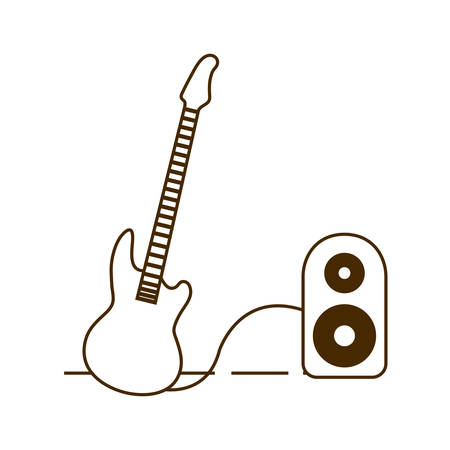 electric guitar with stereo speaker on white background vector illustration design Illustration