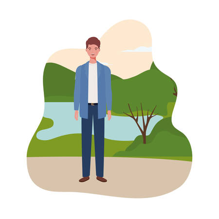 young man standing with landscape background vector illustration design