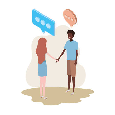 couple of people standing with speech bubble on white background vector illustration design Illustration