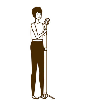 young woman with microphone on white background vector illustration design