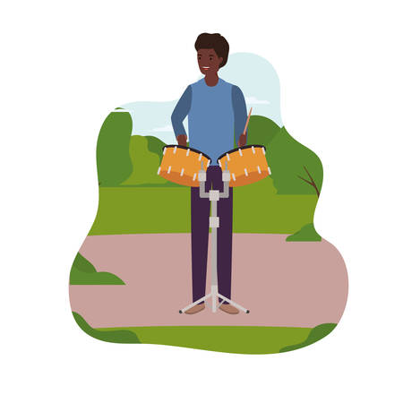 young man with timpani in background landscape vector illustration design Çizim
