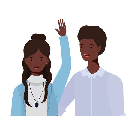 couple of people smiling on white background vector illustration design