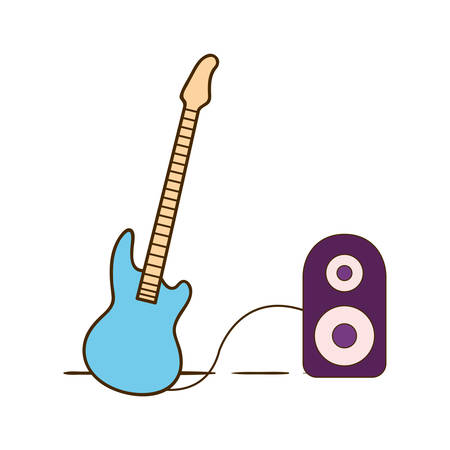 electric guitar with stereo speaker on white background vector illustration design Çizim