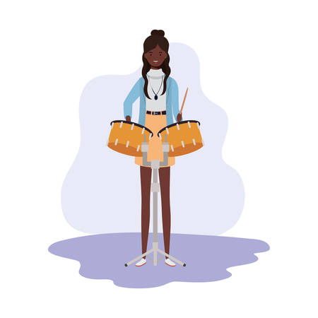 young woman with timpani on white background vector illustration design Çizim