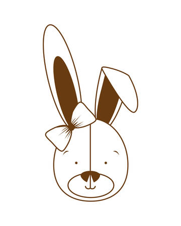 silhouette of head of cute bunny on white background vector illustration design