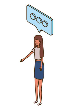 woman standing with speech bubble on white background vector illustration design Ilustracja