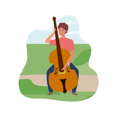 young man with fiddle in background landscape vector illustration design