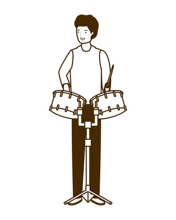 silhouette of man with timpani on white background vector illustration design