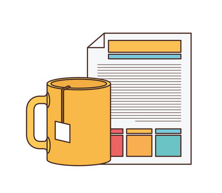 file sheet with coffee cup in white background vector illustration design Ilustração