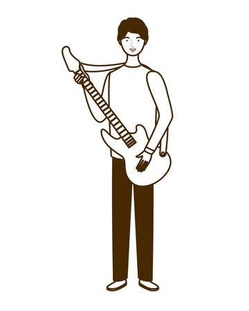 silhouette of man with electric guitar on white background vector illustration design Çizim
