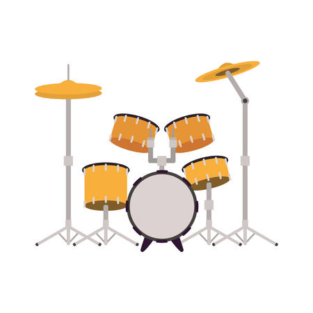 drum kit musical instrument on white background vector illustration design