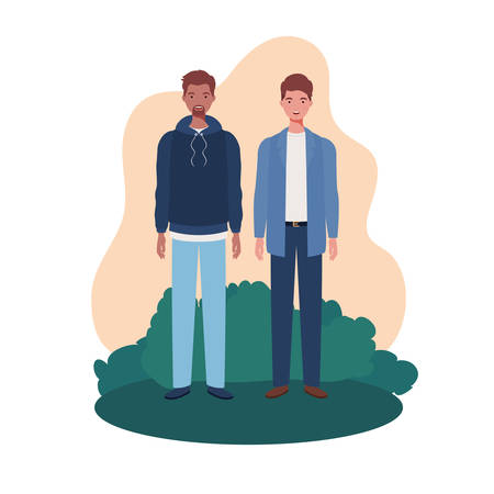 young men standing with landscape background vector illustration design