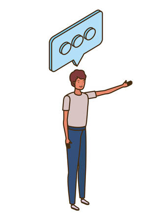 man standing with speech bubble on white background vector illustration design Illustration
