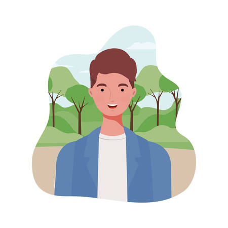 young man with landscape background vector illustration design