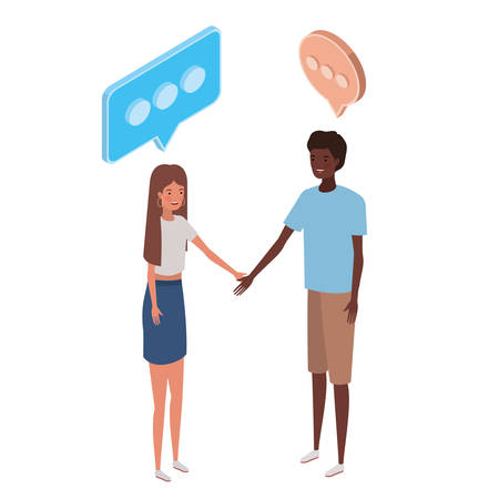 couple of people standing with speech bubble on white background vector illustration design Illusztráció