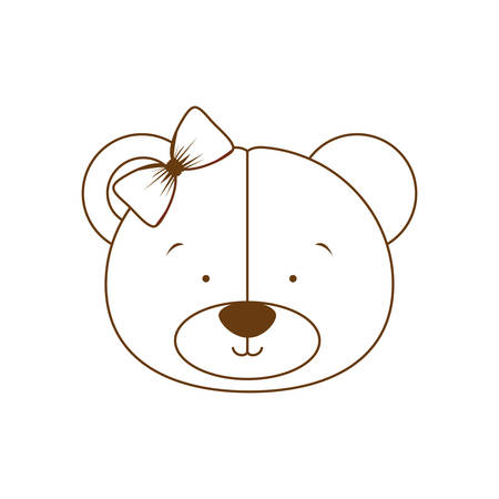 silhouette of head of cute bear on white background vector illustration design