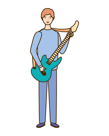 young man with electric guitar on white background vector illustration design Çizim