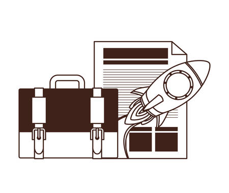 set of icons with space rocket vector illustration design