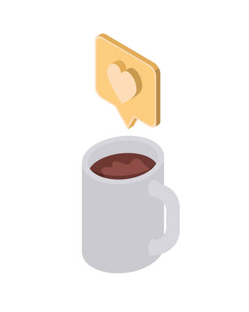 cup of coffee with speech bubble on white background vector illustration design