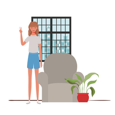 woman living room with view the city by window vector illustration design