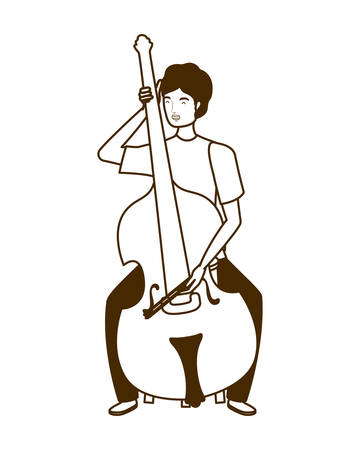 silhouette of man with fiddle on white background vector illustration design