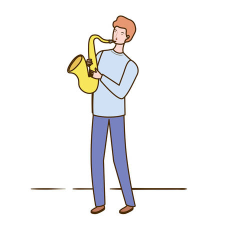 young man with saxophone on white background vector illustration design Çizim