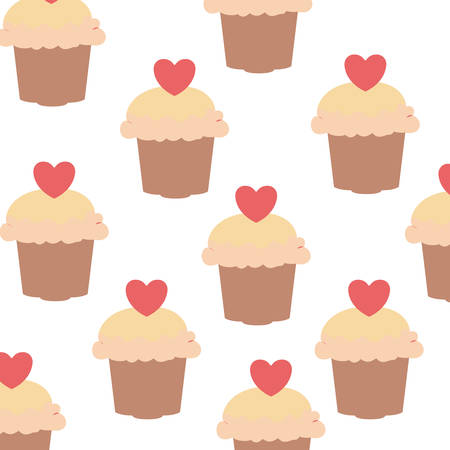 pattern of delicious cake with cherry vector illustration design Ilustracja