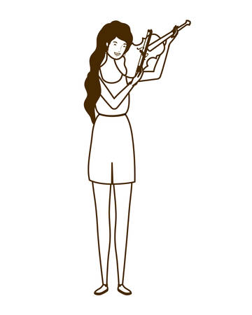 silhouette of woman with fiddle on white background vector illustration design