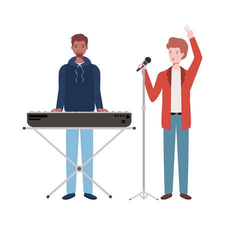 men with musicals instruments on white background vector illustration design Иллюстрация