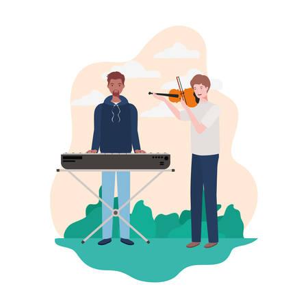men with musicals instruments and background landscape vector illustration design Иллюстрация
