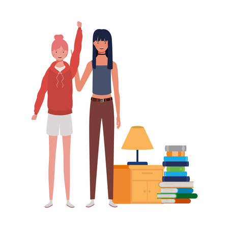 women standing with bookshelf of wooden and books vector illustration design Ilustracja