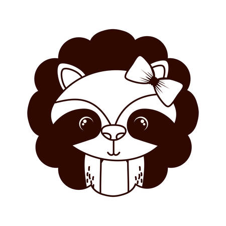cute and adorable raccoon with frame vector illustration design