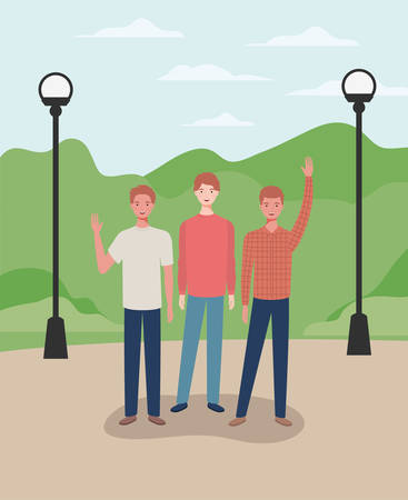 young and casual men in the park characters vector illustration design Ilustracja