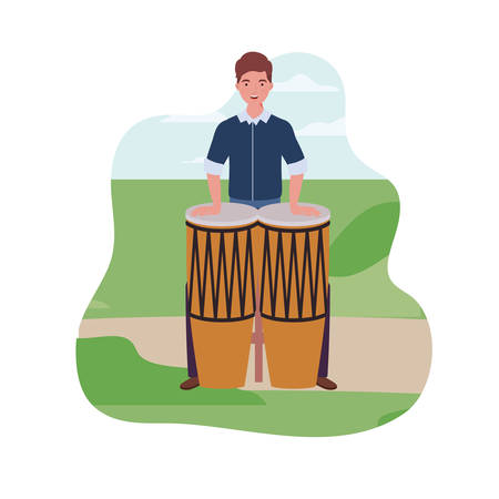 young man with congas in background landscape vector illustration design