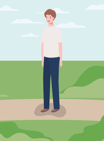 young and casual man in the camp character vector illustration design Ilustracja