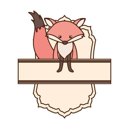 cute and adorable fox with frame vector illustration design Ilustração