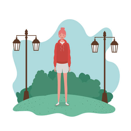 young woman standing with landscape background vector illustration design Ilustracja